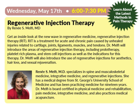 Learn More About Regenerative Therapy With Dr. Melfi at Natur-Tyme on Erie Blvd Wednesday, May 17th 6:00-7:30 pm